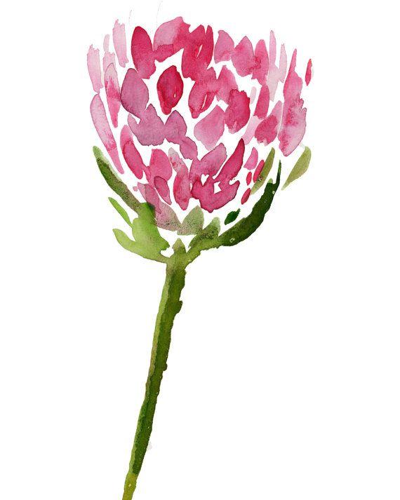 pink protea - Watercolor, island chic, minimalist, coastal chic, art print, Hawaiian flower, tropical art,watercolor painting, tropical