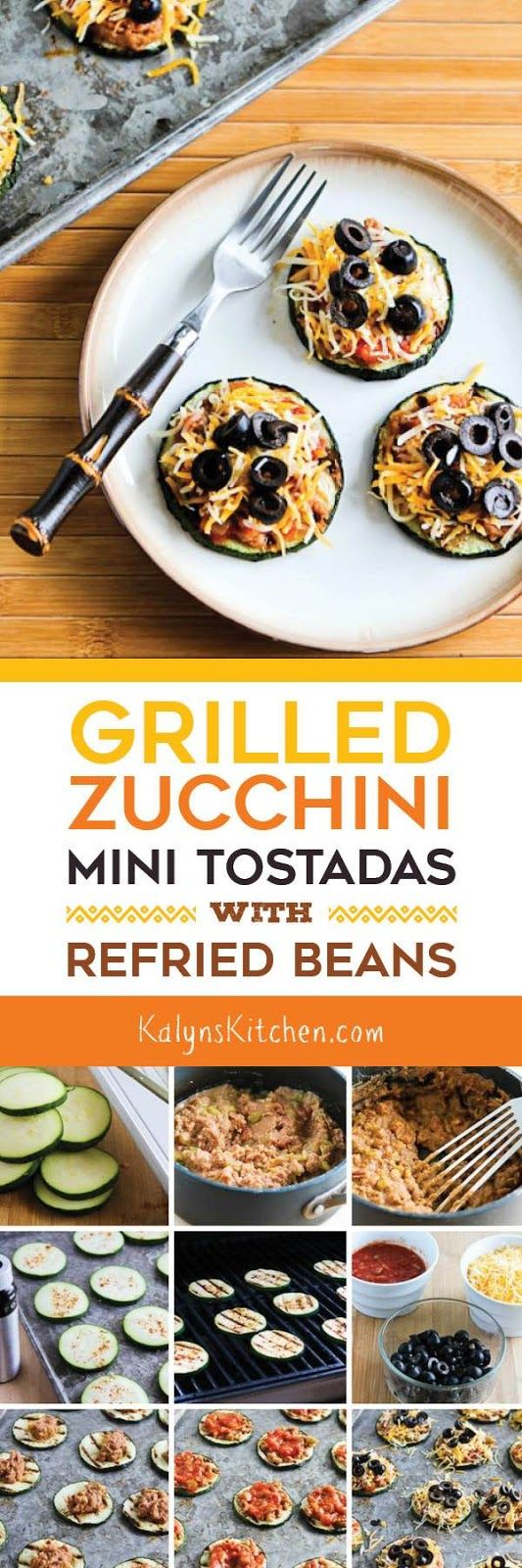 Grilled Zucchini Mini-Tostadas with Refried Beans are perfect for Meatless…
