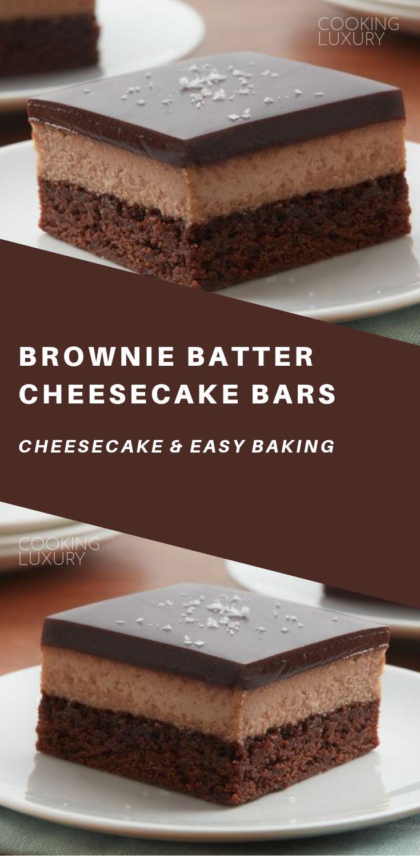 Brownie batter cheesecake bars cooking luxury