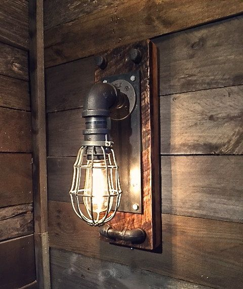 Rustic Industrial Lighting Chandelier Mason Jar Chandelier: This Is A Black Iron Caged Industrial Wall Mounted Sconce