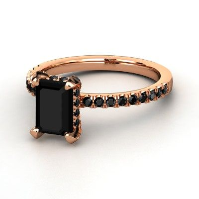 Reese Ring - Emerald-Cut Black Onyx 14K Rose Gold Ring with Black Diamond | Gemvara