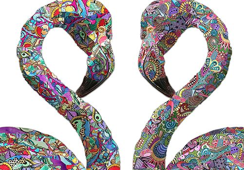 """""""Flamingodelic"""" by Mona De Lima Dapat dicetak sebagai Art Prints di pilihan media Poster, Kanvas, Kulit dan Kayu.  Temukan koleksi lainnya dari Mona De Lima di www.tokopix.com/collections/mona-de-lima Order online di www.tokopix.com"""