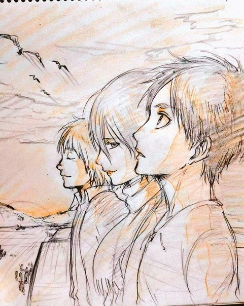 These three... Are the best... Also Mikasa, the way she's looking at Eren