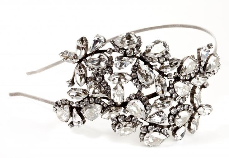 Metal Hairband strass swarovksy crystal// Cerchietto in metallo (ottone) argento antico strass swarovksy crystal  €350,00  #wedding #bride #hair