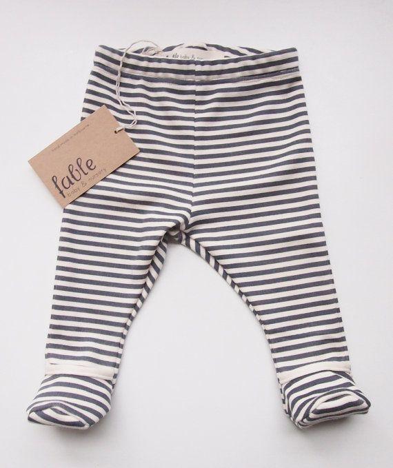 Hand Printed Organic Cotton Unisex Baby Legging with Bootie - Navy Stripe on Cream.