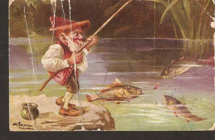 Old Postcard Tale GNOME FISHERMAN FISHES fishing illustration by SCHÖNIAN LUTIN