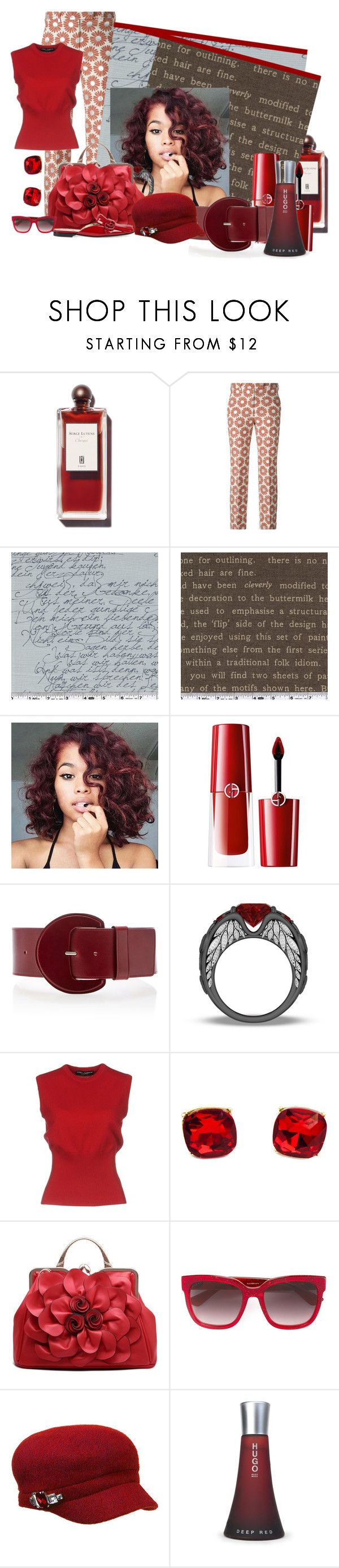 """""""Sincerity in Red"""" by jakenpink ❤ liked on Polyvore featuring Maison Margiela, Giorgio Armani, Michael Kors, Dolce&Gabbana, Gucci, Betmar and HUGO"""