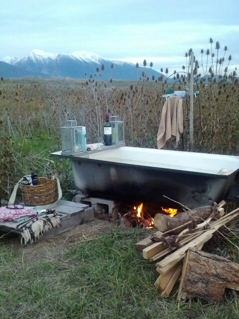 Off grid wood fired hot bath Photo by Lori Parr