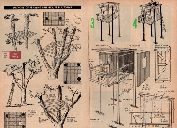 Details about tree house plans several different designs Free simple house plans to build
