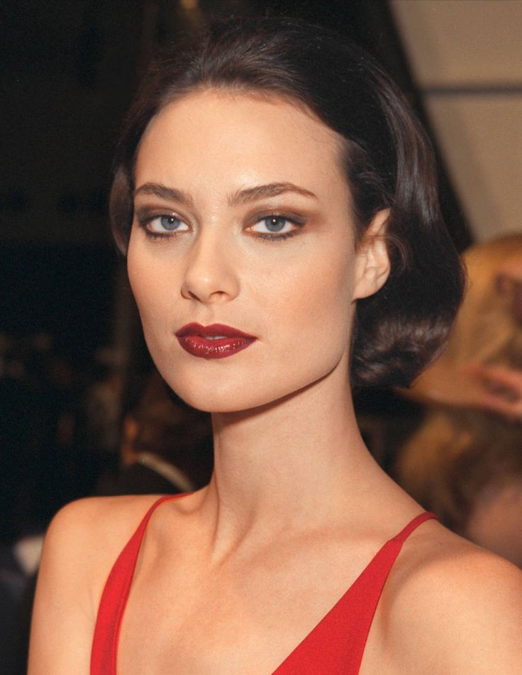 Shalom Harlow with a deep red lip.