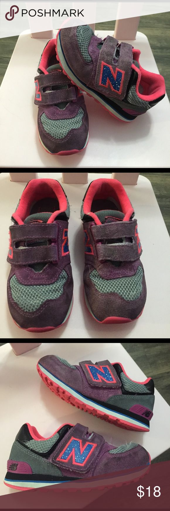 New Balance Toddler Sneakers Good condition sneakers with strap. Very cute sneakers for girl, they're a bit dirty but please see pics for condition. Offers welcomed! New Balance Shoes Sneakers