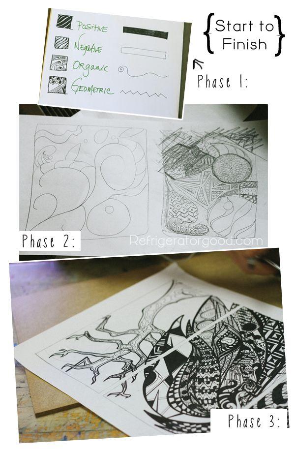 Line Design Art Lesson Plan : High school art lesson zentangle designs line