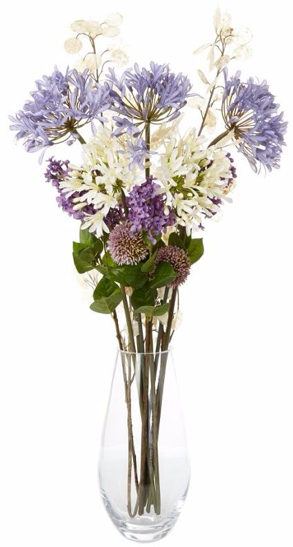 Artificial flowers arrangement with silver dollars and agapanthus