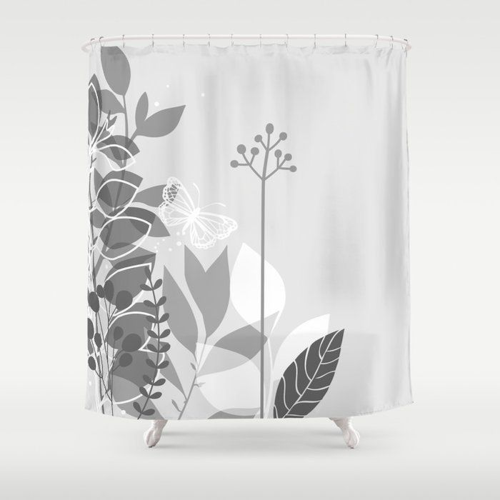 Pantone Pewter Gray Botanicals And Butterfly Graphic Design 2 Decorative Fabric Shower Curtains D With Images Shower Curtain Decor Pretty Shower Curtains Butterfly Graphic