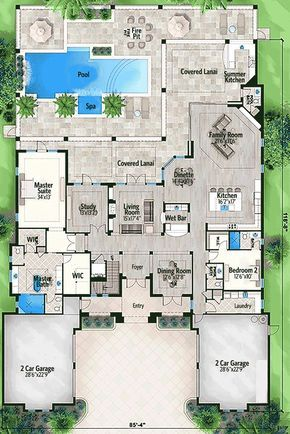 Five Bedroom Florida House Plan - 86016BW   1st Floor Master Suite, Butler Walk-in Pantry, CAD Available, Corner Lot, Den-Office-Library-Study, Elevator, Florida, Luxury, Media-Game-Home Theater, PDF   Architectural Designs