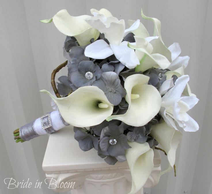 Yellow And Grey Wedding Flowers: Wedding Bouquet White Silver Slate Grey Bridal Bouquet
