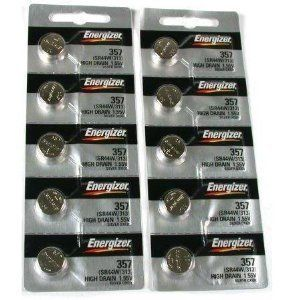 10 357 / 303 Energizer Batteries SR44SW SR44W LR44 by Energizer. $10.70. 10 Type 357/303 Energizer Batteries. This is a new set of 10 type 357/303 (SR44SW) Energizer batteries. Brand new and guaranteed factory fresh. The shelf life on Energizer batteries is 5 to 10 years. These batteries are commonly required for Swatch, Fossil, Timex and Casio popular brands. Energizer's reported failure rate is far less than 1/1000 of 1%. This devotion to consistent quality has ...