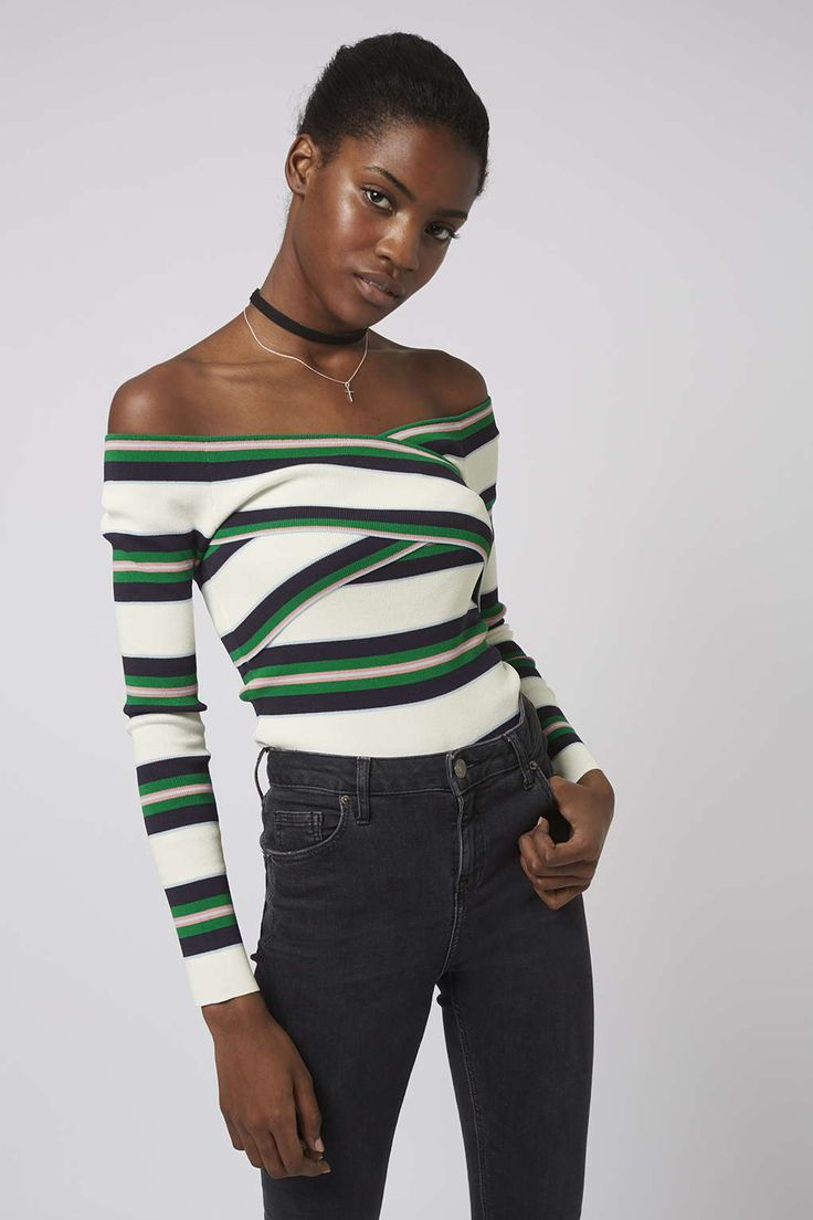Keep shoulders on show this season for a look that is on-trend and daring. This long sleeve top comes in a multi-coloured stripe pattern and features a dainty Bardot wrap styling at the bust. Style it with skinny denim and suede boots for a retro feel. #Topshop