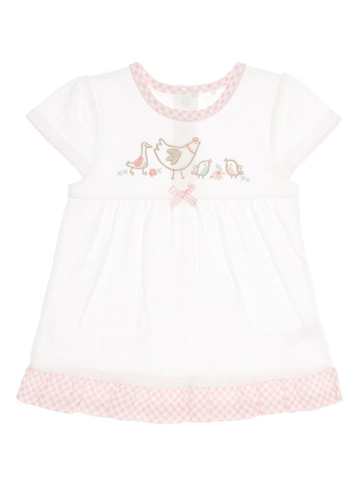 Crafted from pure cotton, this top is a pretty update to a little one's wardrobe. In white with a checked hem and neck, it features an embroidered bird motif and a cute bow applique.     White bird top Embroidered bird motif Checked neck and hem Scalloped sleeves Bow applique Keep away from fire