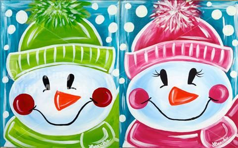 Family Day - Let it Snow in Pink or Green! - Mason, OH Painting Class - Painting with a Twist