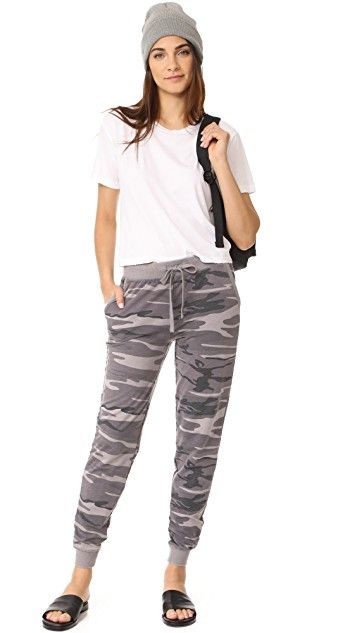 Comfy Camo Pants | Camo Joggers | Neutral Print Joggers | Camo-print joggers in soft, french terry | Elastic waistband with drawstring closure | Slant hip pockets | Ribbed cuffs