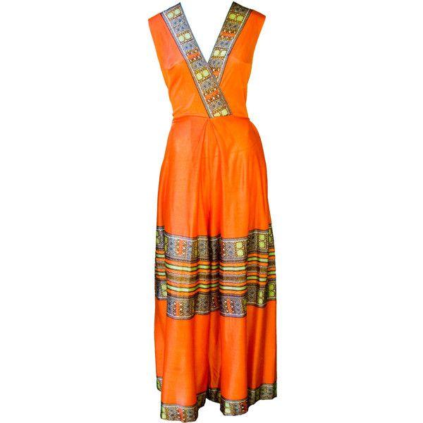 1960s Large Romper Onesie Plus Size Orange Batik Festival Ethnic... ($62) ❤ liked on Polyvore featuring jumpsuits, rompers, sleeveless romper, plus size romper, playsuit romper, plus size rompers and african print romper
