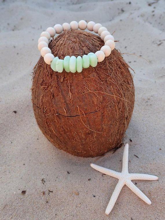 SALE Recycled sea glass bracelet Beach bracelet by CoconutLily - £6.99