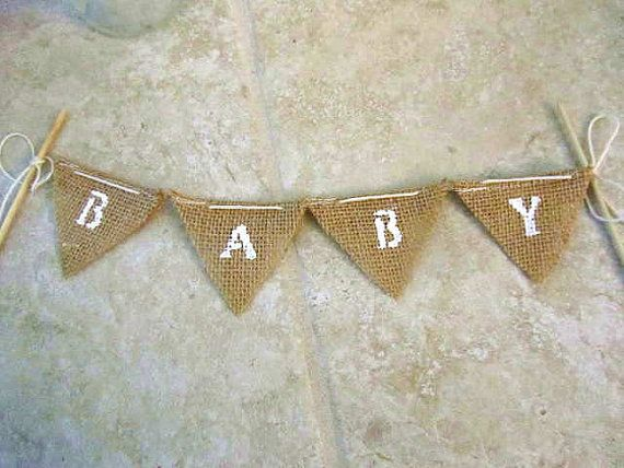 BABY for bithday cake burlap bunting white ink with by shabbyweb, $10.99