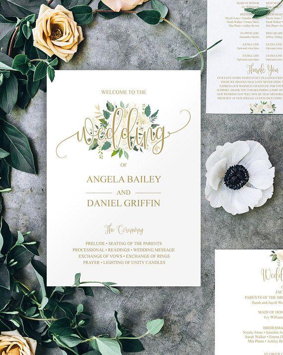 Gold Wedding Program Template, ★❤★ Trending • Fashion • DIY • Food • Decor • Lifestyle • Beauty • Pinspiration ✨ @Concierge101.com