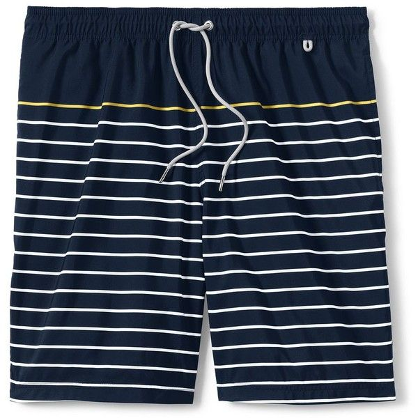 Lands' End Men's 8 Volley Swim Trunks ($40) ❤ liked on Polyvore featuring men's fashion, men's clothing, men's swimwear, blue, lands end mens clothing, men's apparel, mens swimshorts, mens clothing and mens mesh swimwear