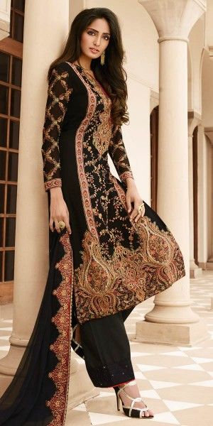 Astounding Black And Beige Georgette Straight Suit.