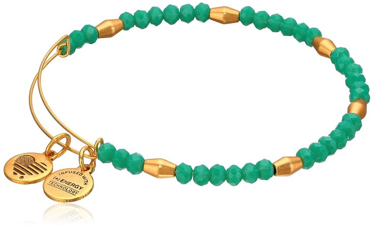 Alex and Ani Women's Nautical Bangle Marina/Gold One Size. Made in United States. Signature Expandable Bangle crafted in our Rafaelian Gold Finish and adorned with calming tones of green glass beads. Made in USA.
