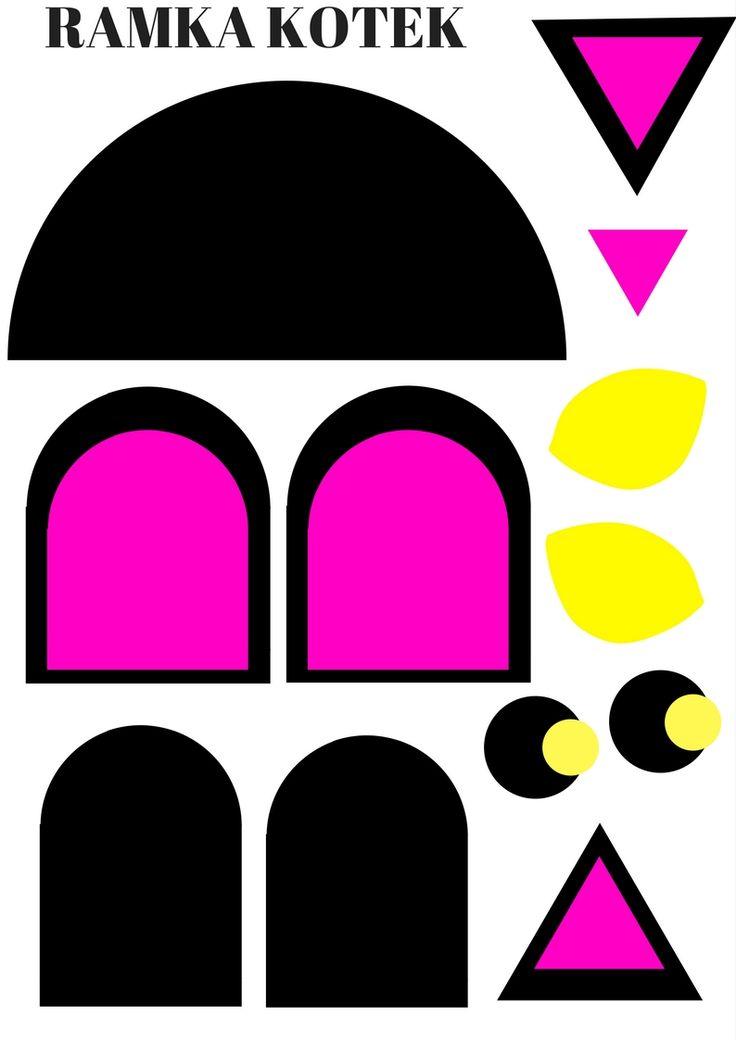Elementy ramki na zdjęcia w kształcie kotka.  https://www.kredkauczy.pl/wycinanki-i-szablony