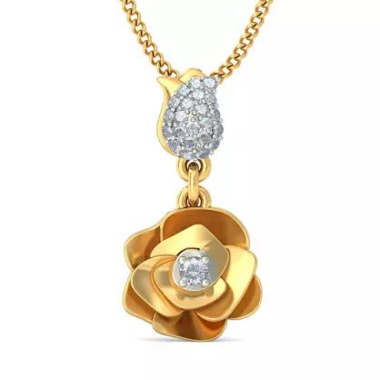 Diamond Pendant In 18Kt Yellow Gold (2.449 gms) with Diamonds (0.1220 Ct)