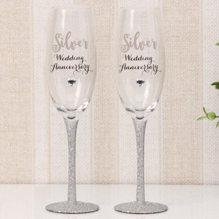 oferte grozave arătos san francisco Set pahare cu sclipici, cadou pentru Nunta de Argint - DSWG10325 | Silver  wedding, Champagne flute, Wine glass