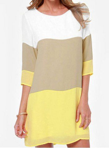 Casual Round Neck 3/4 Sleeve Color Block Loose-Fitting Women's Dress Casual Dresses | RoseGal.com Mobile