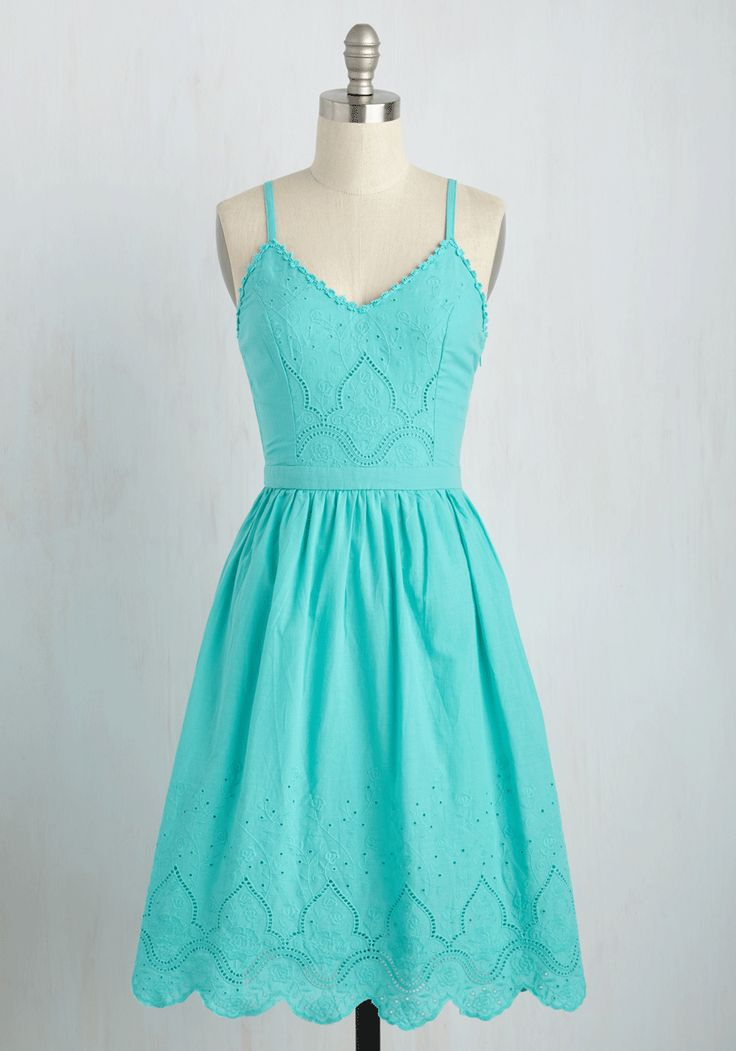 Everything you do is sweet as can be, down to your decision to don this aqua blue sundress! Gracefully greeting friends with a curtsy, you flaunt the eyeleted bodice and hemline, daisy chain trim, and gathered waist of this lovely look humbly and hautely.