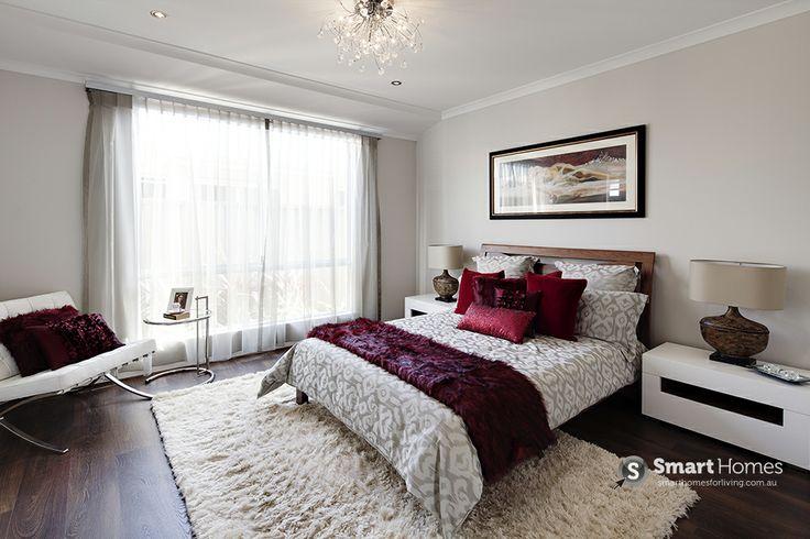 master bedroom home design. Red and White colour scheme. #mastersuite #smarthomesforliving
