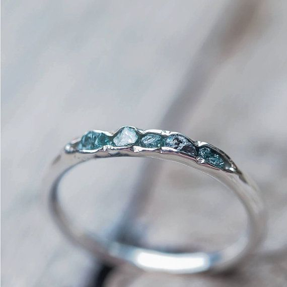 Hidden raw diamond ring, sterling silver, blue diamonds - dainty stacking ring