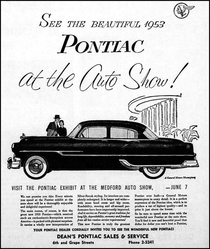 Vintage Newspaper Advertising For The 1953 Pontiac