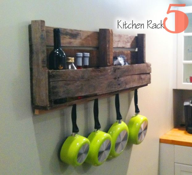 Pallet Shelves | ... Shipping Pallets- Free & Fabulous Uses For Recycled Pallets | Picklee...love how the pans are hung underneath...so simple and yet i love it :)