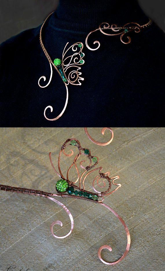 Halskette Schmetterling Silber Schmuck Kupfer von AlenaStavtseva
