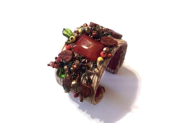 Bead embroidery bracelet, beadwork cuff bracelet, beaded bracelet, carnelian bracelet by GabileriaHM on Etsy