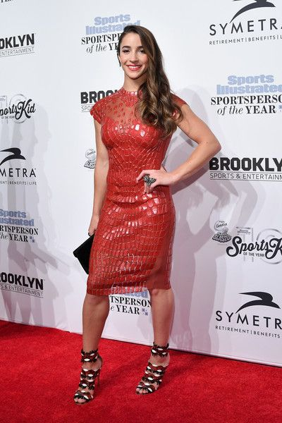 Aly Raisman Form-Fitting Dress - Aly Raisman worked a form-fitting red dress rendered in a scale-like pattern at the SI Sportsperson of the Year 2016.