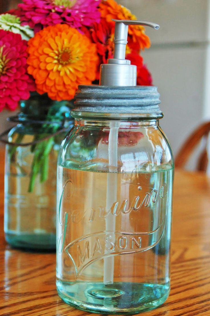 Mason jar crafts mason jar soap or lotion dispenser for Crafts using mason jars