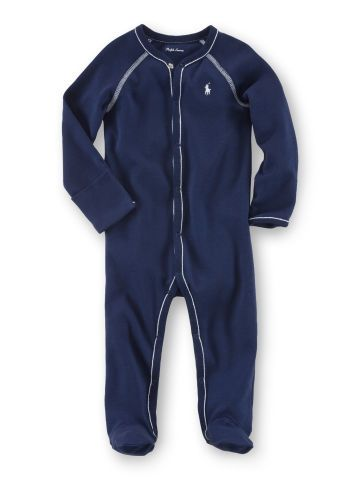 Solid Cotton Footed Coverall - Baby Boy One-Pieces - RalphLauren.com