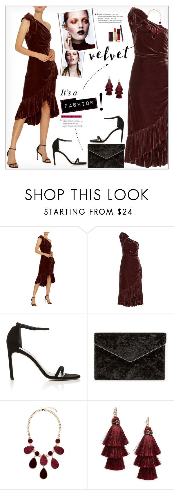 """Crushing on Velvet"" by alves-nogueira ❤ liked on Polyvore featuring Ulla Johnson, Stuart Weitzman, Rebecca Minkoff, GUESS by Marciano, Design Lab and Kevyn Aucoin"