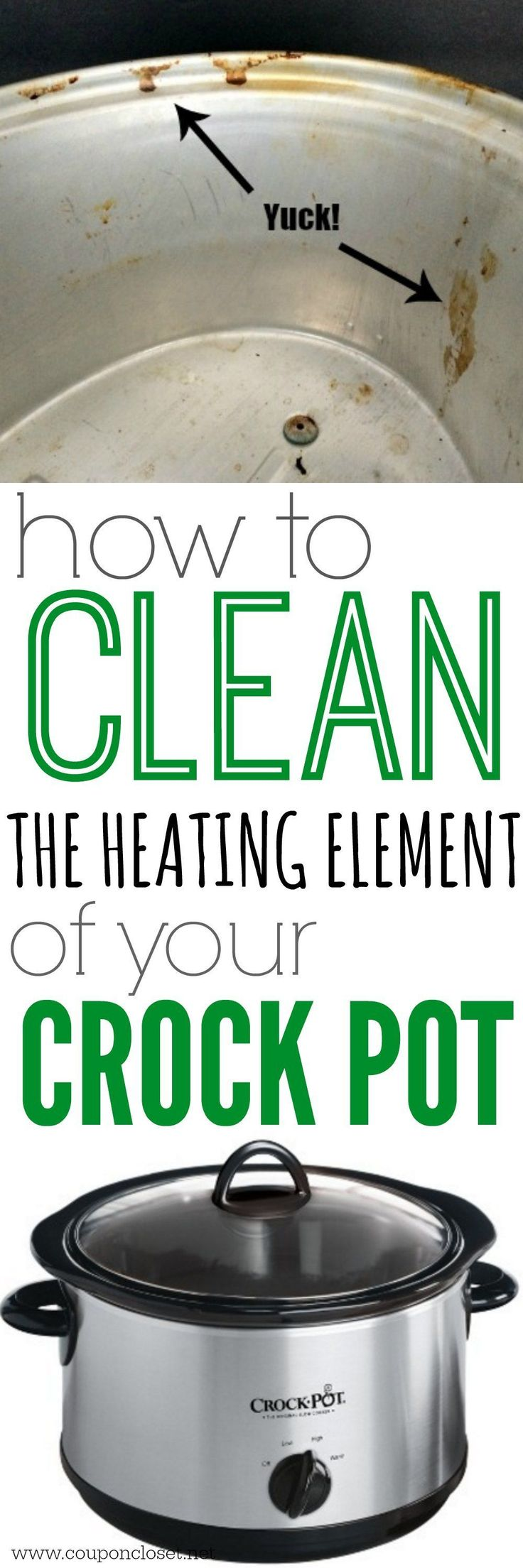 How to Clean inside of Crock pot - yes, you can actually clean the heating element of your crock pot. #howtoclean