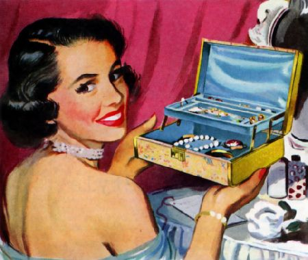 vintage jewelry box. Through out the years I had many pretty much exactly like this one. Loved my jewelry boxes.