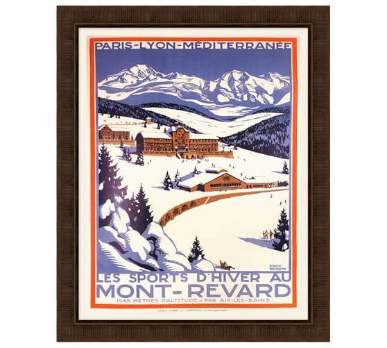 Framed mont revard vintage ski poster pottery barn for Mont revard